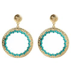 Make a bold fashion statement with these eye-catching hoop earrings, featuring a hammered gold finish and faceted faux stone accents.