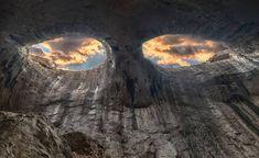 ''The Eyes Of God'' rock formation,Prohodna karst cave, Karlukovo, Bulgaria — at Пещера Проходна - Очите на Бога.