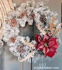 White flocked Christmas Wreath