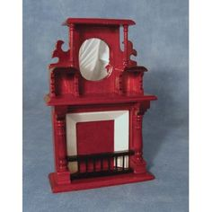 Mahogany Fireplace with Mirror - Fireplaces - Fireplaces - Dolls' House Furniture - Dolls House Emporium