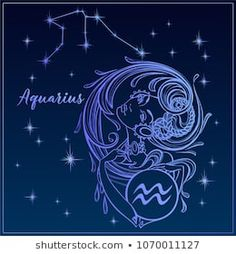 9d7f5882368533 Zodiac sign Aquarius as a beautiful girl. The Constellation Of Aquarius.  Night sky.