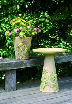 Goldfinch Birdbath and Planter handcrafted in Roseville, OH by Burley Clay Products