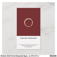 Shop Modern Gold Circle Burgundy Appointment Vertical Business Card created by AffordPrint. Vertical Business Cards, Modern Business Cards, Circle Logos, Appointments, Burgundy, Stationery, Things To Come, Entrepreneur, Fashion Beauty