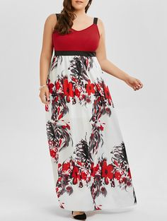 $12.89  Floral A Line Plus Size Maxi Prom Dress in Colormix | Sammydress.com