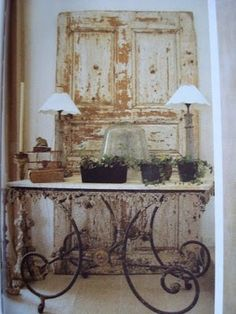 gorgeous shabby door...love the pastry table