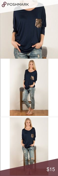 Navy Sequin Pocket Tee Worn a few times. Soft 3/4 length sleeve gold sequin pocket jersey Knit tee. Tops