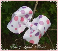 Large Purple and Pink polka dot twisted boutique by FairyLandBows, $3.50