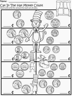 Free: The Cat In The Hat Money Recognition and Counting. For educational purposes only...not for profit. Based on the story by Dr. Seuss. 3 different levels for differentiated instruction. Enjoy! Regina Davis aka Queen Chaos at Fairy Tales and Fiction By 2.
