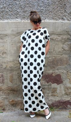 Black and white polka dots dress  maxi by cherryblossomsdress