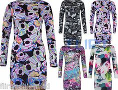 Womens Tunic Dress Bodycon Skull Tie Dye Top Cartoon Comic Slogan Mini Skirt New