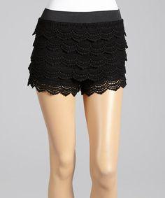 Black Scallop Lace Shorts