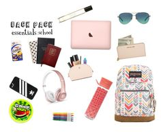"""""""Backpack essentials"""" by ysabel-tueno on Polyvore featuring JanSport, Orla Kiely, Byredo, Tiffany & Co., adidas, Kate Spade, Smythson, Sloane Stationery, Beats by Dr. Dre and Smashbox"""