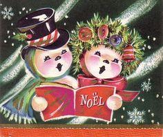 1940's Caroling Snow Couple Christmas Card