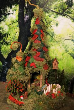 Fairy House Pixie Neighbor Woodland by WoodlandFairyVillage, $56.99 - Two fairy houses on one base!
