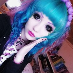 New hair ☆ it's actually green and blue, with lots of pink, purple and orange haha~ I'll get a better picture eventually