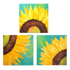 SUNFLOWERS ON TEAL  Set of 3 12x12 Abstract Paintings Home and Office Wall Art   by nJoy Art, via Etsy.