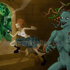 Fantasy Art Tomb Raider and Gorgon Print. Sci Fi Wall by CapnDred