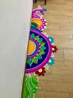 30 Latest Diwali Rangoli Designs Beautiful Unique Easy Ideas - Lifestyle Spunk Rangoli Designs Simple Diwali, Rangoli Designs Peacock, Rangoli Simple, Indian Rangoli Designs, Rangoli Designs Latest, Free Hand Rangoli Design, Small Rangoli Design, Rangoli Patterns, Colorful Rangoli Designs