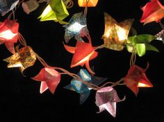 Origami patterned Tulips lantern string light by OrigamiByWingy, $45.00