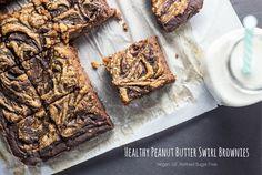 Healthy Peanut Butter Swirl Brownies -