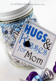 Quickly and easily print out these Mother's Day Gift tags and attach them to a jar full of yummy chocolates to make Mom (or Grandma!) feel extra special!
