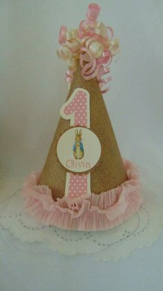 Peter Rabbit  birthday party hat Beatrix  by ASweetCelebration