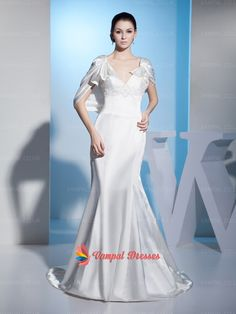 152.00$  Watch now - http://vidmk.justgood.pw/vig/item.php?t=ciwp6m40393 - White Mermaid Cap Sleeve V-neck Long Prom Dresses 2015 With Beading