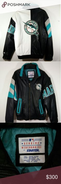 Florida Marlins 100% Leather Starter Jacket size L Genuine Leather Jacket!  Great condition!  No rips or tears but could use spot cleaning as pictured on last 2 photos.  Offers welcome! STARTER Jackets & Coats Bomber & Varsity