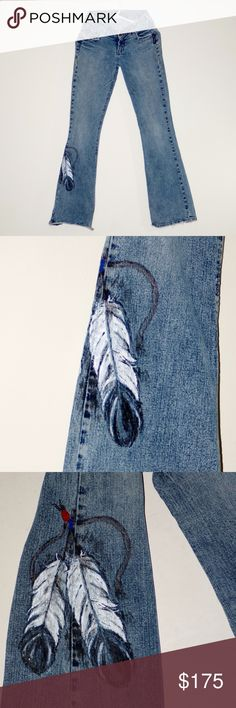 "OOAK Hand painted Tribal SILVER JEANS Denim Blue SILVER JEANS OOAK Hand Painted Feathers on leg Tag Size 27/33 98% Cotton 2% Lycra Stretch Denim Waist measured flat across: 13"" Inseam: 33.5"" but ragged out to about 32"" on back sides (see pictures) Leg opening measured straight across flat: almost 9"" Rise from front crotch seam to waistline: 8"" Well loved, but lot's of miles left in these jeans Silver Jeans Jeans Boot Cut"