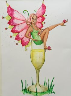 Original #watercolour #painting inspired by my best friend. This #bubbly #blonde #fairy is #cute and vivacious and sits in her #champagne #flute  she has #pink #wings and wears a #green dress. #artist #art #deenoney
