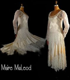 Late 1920s- early 30s lace and satin dress. Made with delicate creamy white silky lace and rich ivory silk satin.     **The dress has a drop waist. The skirt and bodice both feature a wonderful more abstract asymmetrical combining of the satin with the lace.