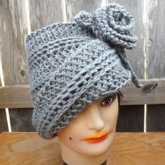 Crochet Hat Womens Hat Crochet Flower Hat Cloche Hat Crochet Flower Gray Hat OMBRETTA Cloche Hat with Flower Formal Hat  by strawberrycouture by #strawberrycouture on #Etsy