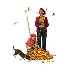 Grandpa and Me: Raking Leaves Giclee Print by Norman Rockwell at Art.com