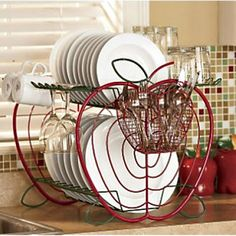 Red Dish Drainer Apple Kitchen Decor Sets — Wirely Home Kitchen Decor Sets, Apple Kitchen Decor, Kitchen Themes, Country Kitchen, New Kitchen, Kitchen Ideas, Apple Decorations, Dish Drainers, Ideas Geniales