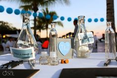 Table details at the destination beach reception of Jamie and Jason at the Blue Bay Grand Esmeralda in Playa del Carmen Mexico, at very cute wedding signs Blue Beach Wedding, Dream Wedding, Wedding Day, Riviera Maya Mexico, Wedding Signs, Wedding Details, Destination Wedding, Reception, Wedding Photography
