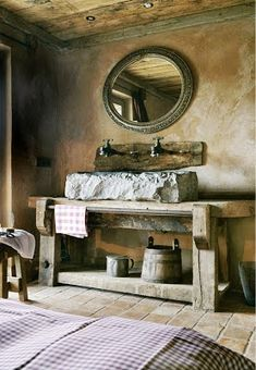 mesa de consola en madera rustica reciclada