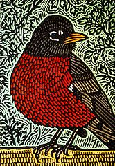 Robin  (painted woodcut block) by Lisa Brawn, flickr