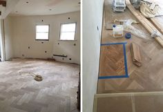 The Story of Our Herringbone Flooring …Bona sealant with no color to seal & protect.  LOVE the way it ends up.