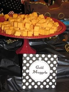 pirate food - cheese as gold nuggets