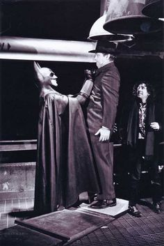 Michael Keaton, Jack Nicholson and Tim Burton on the set of Batman