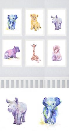 Neutral Nursery Set of 8 Prints Baby Animals Watercolor painting Girl Nursery Decor Safari Art Watercolour Print Gray Jungle Animal Baby Animal Nursery, Safari Nursery, Nursery Prints, Nursery Wall Art, Girl Nursery, Nursery Decor, Baby Animals, Nursery Paintings, Animals Watercolor