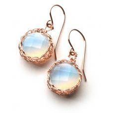 Hanging OPALITE earrings ROSE gold wire crochet