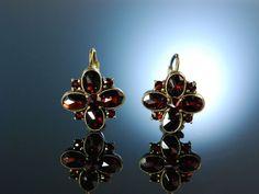 München um 1930! Antike Granat Ohrringe vergoldet , zu Tracht und Dirndl, Antique Garnet Earrings, feiner Granatschmuck bei Die Halsbandaffaire