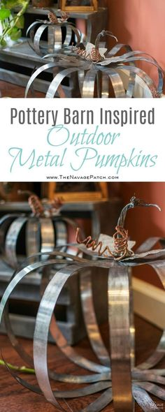 Pottery Barn Inspired Outdoor Metal Pumpkins | DIY fall pumpkin decor | Pottery Barn Knockoff | Step-by-step galvanized metal pumpkin tutorial | Fall pumpkin decorations | Farmhouse style decoration | TheNavagePatch.com