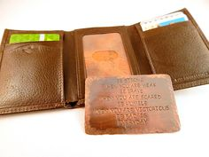 FATHERS DAY Wallet Insert Card - Antiqued Copper Hand Stamped - 300 Character Max