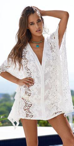 Pily Q Beachwear Samantha Lace Tunic in White Color Pilyq, Maternity Swimwear, Lace Tunic, Designer Swimwear, Marshalls, Resort Wear, White Lace, Beachwear, One Piece