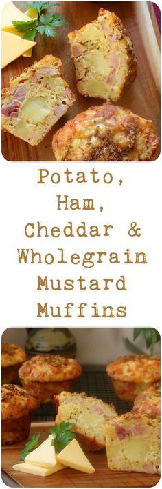 Potato, Ham, Cheddar & Wholegrain Mustard Muffins Brunch Recipes, Fall Recipes, Breakfast Recipes, Healthy Recipes, Breakfast Ideas, Healthy Food, Savory Muffins, Breakfast Muffins, Cupcake Recipes