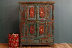 Antique Distressed Multi-color Blue Red Indian Door Cupboard Cabinet traditional