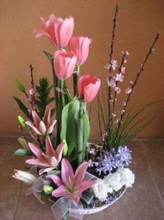 Happiness is : A Beautiful Formal Arrangement. Creative Flower Arrangements, Ikebana Flower Arrangement, Church Flower Arrangements, Church Flowers, Funeral Flowers, Floral Arrangements, Silk Flowers, Spring Flowers, Paper Flowers
