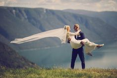 Dreamy wedding surrounded by the beautiful mountains of the largest Norwegian fjord - Sognefjord. Wedding photographer in Norway.